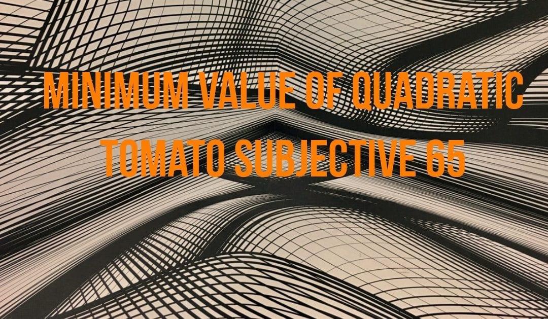 Test of Mathematics Solution Subjective 65 – Minimum Value of Quadratic
