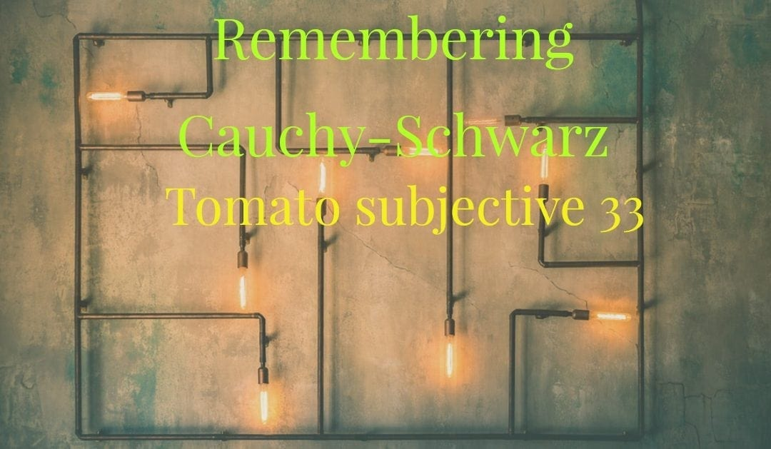 Remembering Cauchy-Schwarz(Tomato subjective 33)