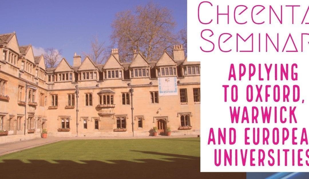 Applying in Oxford – Warwick after high school