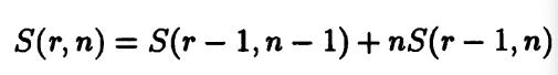 Stirling number recursion