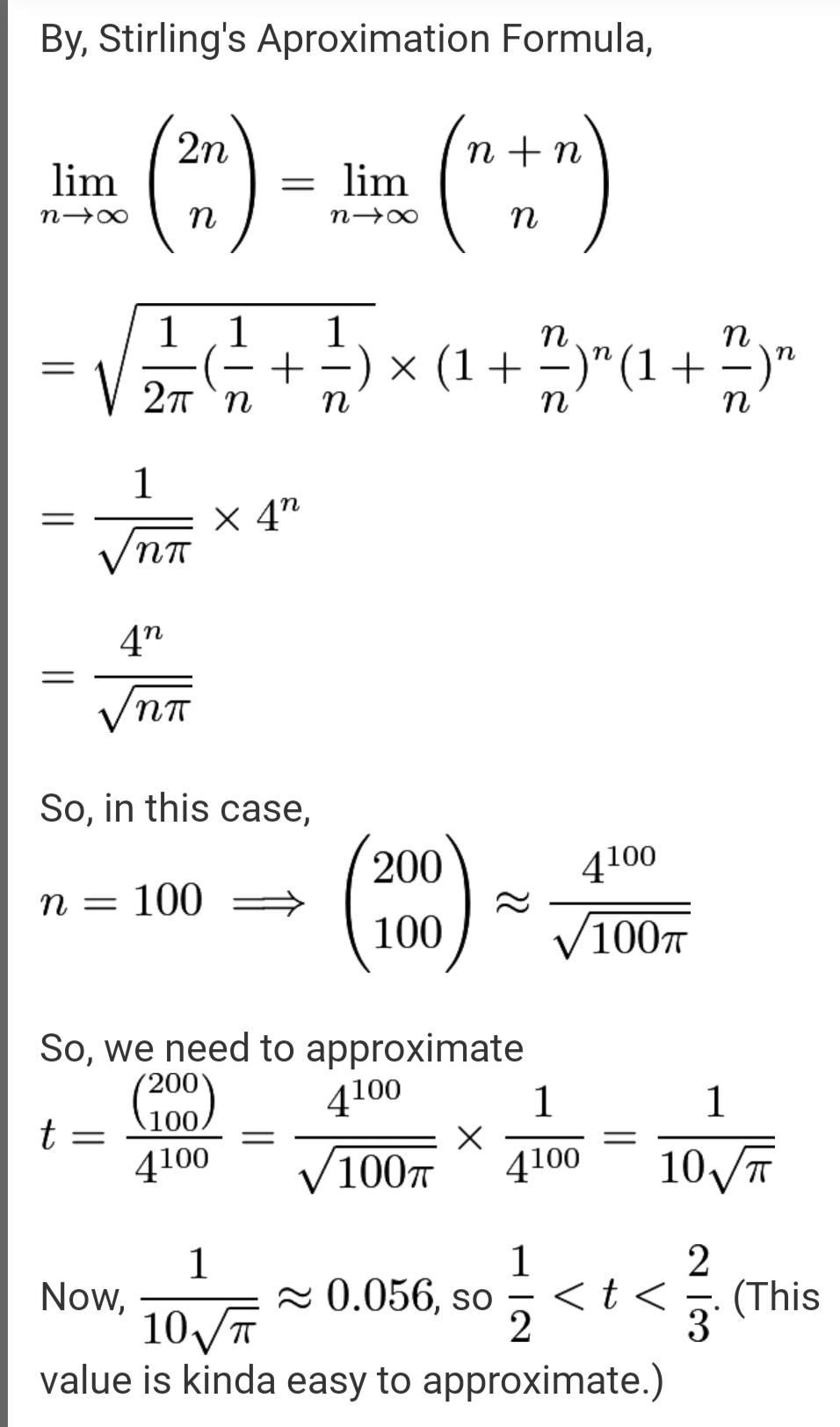 Solution using Stirling approximation
